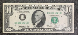 США 10 ДОЛЛАРОВ 1974 2B (НЬЮ-ИОРК) № B 00006621 H (НИЗКИЙ НОМЕР) 'UNC!!!' (см.фото) - Bilglietti Della Riserva Federale (1928-...)