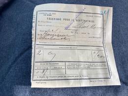 Chemin De Fer Du Midi Grande Vitesse Récépissé Pour Destinataire  Départ Toulouse Arrivée Mont Marsan  22/1/18?? - Eisenbahnverkehr