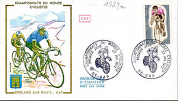 France 1724 Fdc Cyclisme Championnats Du Monde Gap 04 Aout 1972 - Ciclismo