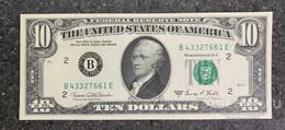 США 10 ДОЛЛАРОВ 1969 C 2B (НЬЮ-ИОРК) № B 43327661 E 'UNC!!!' (см.фото) - Bilglietti Della Riserva Federale (1928-...)