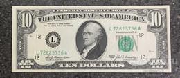 США 10 ДОЛЛАРОВ 1969 A 12L (САН-ФРАНЦИСКО) № L 72625736 A 'UNC!!!' (см.фото) - Bilglietti Della Riserva Federale (1928-...)