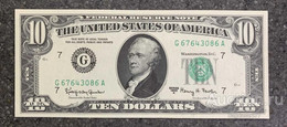 США 10 ДОЛЛАРОВ 1963A 7G (ЧИКАГО) № G 67643086 A 'UNC!!!' (см.фото) - Bilglietti Della Riserva Federale (1928-...)