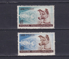 ROMANIA 1957, Mi# 1684-1685, Animals, Space, MH - Nuevos
