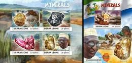 Sierra Leone 2017, Minerals, 4val In BF +BF - Sierra Leone (1961-...)