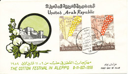 Syria FDC Aleppo 9-10-1958 The Cotton Festival In Aleppo Complete Set Of 2 With Nice Cachet - Syria