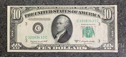 США 10 ДОЛЛАРОВ 1950 C 3C (ФИЛАДЕЛЬФИЯ) № C 32083433 C 'UNC!!!' (см.фото) - Federal Reserve (1928-...)