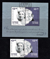 New Zealand 2018 Suffrage 125 Years Set Of 2 + Minisheet Used - Used Stamps