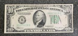 США 10 ДОЛЛАРОВ 1934 B 2B (НЬЮ-ИОРК) № B 89870638 D 'aUNC' (см.фото) - Federal Reserve (1928-...)