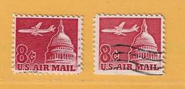 Timbre Etats-Unis Poste Aérienne N° PA 61 - PA 61A - 3a. 1961-… Usati