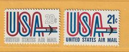 Timbre Etats-Unis Poste Aérienne N° PA 71 - PA 72 - 3a. 1961-… Usati