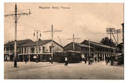 1900/10s PENANG Magazine Road W/ Tramway / Tram / Trolley Postcard Cpa Malaysia Singapore FMS Malaya - Malesia
