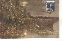 """Stork In The Fields"" Old Vintage German Postcard - Uccelli"