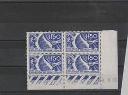Coin Daté Yvert 327 Exposition Paris 1937 Date 18/8/36 - Charnière Hors Des Timbres - 2 Scan - 1930-1939