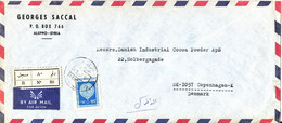 Syria Registered Air Mail Cover Sent To Denmark 1980 Single Franked - Syria
