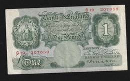 Billet Bank Of England Green Vert One Pound Non Datée TTB - Sonstige