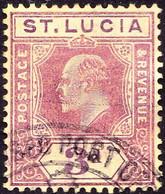 ST LUCIA 1909 KEDVII 3d Purple/Yellow SG71 FU - St.Lucia (...-1978)