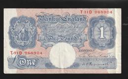 Billet Bank Of England One Pound Non Datée TTB Plusieurs Plis Vertical - Sonstige