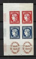"""FRANCE 1949: """"Centenaire Du Timbre"""" Bloc De 4 CDF Avec 2 Paires Des Y&T 830,831 , Neufs** - Unused Stamps"""