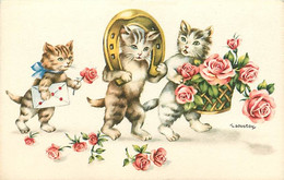 ANIMAUX CHATS FANTAISIE - Porte Bonheur . Fer A Cheval Et Cadeau D'un Bouquet De Fleurs - Gatti