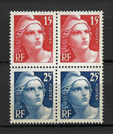 """FRANCE 1949: """"Centenaire Du Timbre"""" Bloc De 4 CDF Avec 2 Paires Des Y&T 832 Neufs* Et 833 Neufs** - Unused Stamps"""