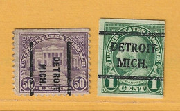 Timbre Etats-Unis Préoblitérés Detroit Michigan - Preobliterati