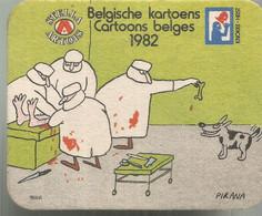 PP /  SOUS-BOCKS  Cartoon Belge BELGIQUE Stella Artois CHIRURGIEN MEDECIN Opération Chien Os PIRANA Bd - Portavasos