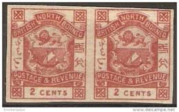 North Borneo - 1888 Arms Imperf Pair MNH **  Sc 37i - North Borneo (...-1963)