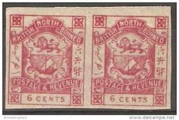 North Borneo - 1888 Arms 6c Imperf Pair MNH **  Sc 41i - North Borneo (...-1963)