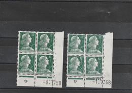 Lot De 2 Coins Datés Yvert 1011A Marianne Muller Date 1/7/58 Et 9/7/58 ** - 1950-1959