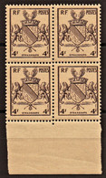 1945 Y&T N° 735 Bloc De 4 Bord De Feuille N** - Unused Stamps