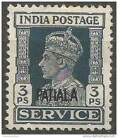 Patalia - 1943 KGVI Official 3ps MH *  Sc O63 - 1902-11 King Edward VII