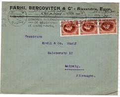1924 Alexandria > Leipzig Abs = Farhi Bercovitch & Co Werbestempel Geographie-Kongress - Covers & Documents