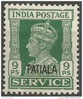 Patalia - 1943 KGVI Official 9ps MH *  Sc O66 - 1902-11 King Edward VII