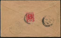 1916 Ceylon Cover VANNARPANNAI - SEREMBAN CENSORED In SINGAPORE Censor - Ceylon (...-1947)