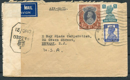 1942 India Bombay Censor Airmail Cover - X Ray Blade Corporation, Newark N.J. USA - 1936-47 King George VI