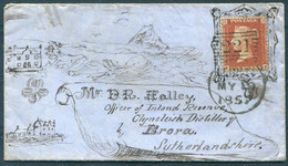 1857 Hand Illustrated 1d Red Cover Leith (221 Duplex) - Mr Halley, Inland Revenue, Clynelish Distillery, Brora - Covers & Documents