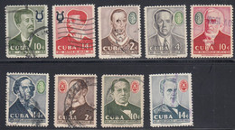 Cuba, Scott #597-603, 605-606, Used, Musicians, Issued 1958 - Used Stamps