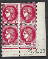 CD 373 FRANCE 1939 COIN DATE 373 : 25 / 1 / 39 TYPE CERES TROIS RONDS BANDE INFERIEURE - 1930-1939