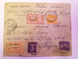 2021 - 3398  ENVELOPPE REC VALEUR DECLAREE Au Départ De CAZERES à Destination De BEZIERS  1921   XXX - Covers & Documents