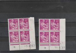 Lot 2 Coins Datés Yvert 1116 Moissonneuse Date 7/8/57, 13/8/57,  ** - 1950-1959