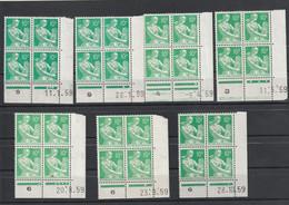 Lot 7 Coins Datés Yvert 1115A Moissonneuse Date 11/1/59, 16/1/59, 8/4/59, 11/5/59, 20/8/59, 23/9/59, 28/10/59  ** - 1950-1959