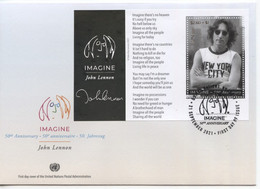 ONU New-York 2021 - John Lennon (Beatles) FDC Feuillet - FDC
