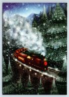 TRAIN On Bridge In Snow Winter Forest Railroad Xmas Railway Russian New Postcard - Sin Clasificación