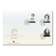 ONU New-York Genève Vienne 2021 - John Lennon (Beatles) FDC Triple - Gemeinschaftsausgaben New York/Genf/Wien