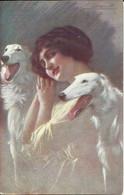 Art Nouveau Illustrator Lady With Ywo Dogs - Ilustrateur Femme Avec Deux Chiens C. Guerzoni - 1900-1949