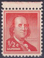 Etats-Unis YT 598 Mi 650A Sn 1030 Année 1955-56 (MNH **) Benjamin Franklin - Unused Stamps