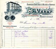 FACTURE.66.PERPIGNAN.FABRIQUE SPECIALE DE BIJOUX EN GRENAT FIN.J.VELZY 1 RUE DE L'ARGENTERIE. - Non Classificati