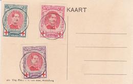 379 Cob 132 133 134 Dynastie Roi Albert 1er 25-2-1915 Baarle Duc - 1914-1915 Croce Rossa