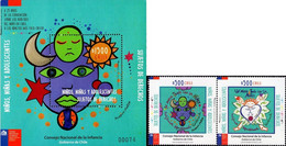 Chile 2017, New Deals With Childhood - Children Art, MNH S/S And Stamps Strip - Chile