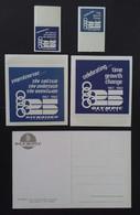 Olympic Airways Memorabilia 1957-1982 Label Stickers In Greek & English In Two Sizes Plus Postcard Of Mykonos - Publicités
